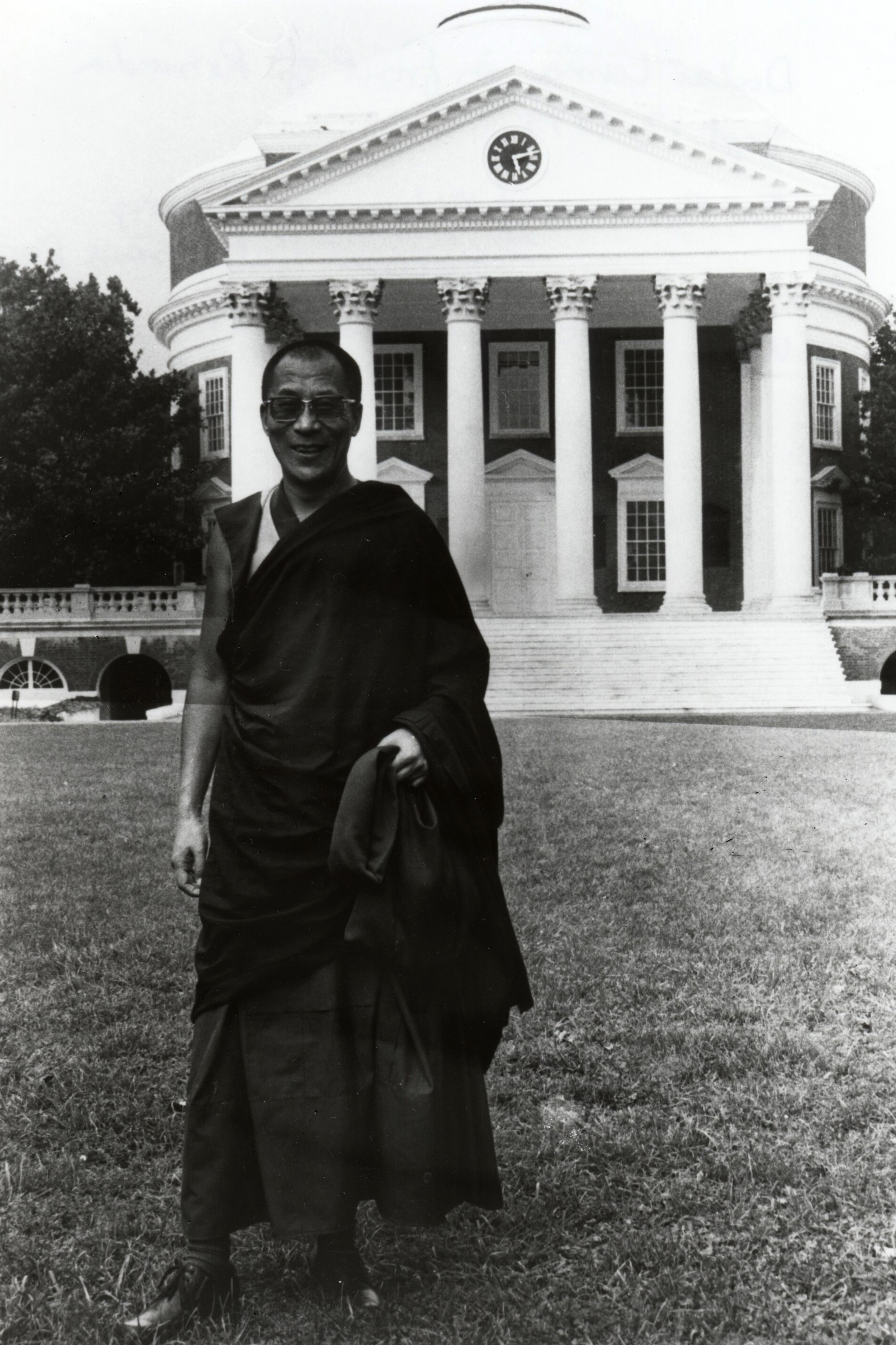 he Dalai Lama during a visit to Grounds in 1979. (Image courtesy Albert and Shirley Small Special Collections Library)